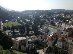 Les Sanctuaires vus du château de Lourdes, juillet 2013
